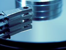 Blue HDD. Close detail of the active parts royalty free stock photos