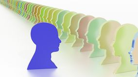 Blue head facing the crowd leadership concept. Blue head symbol facing a row of colored having an idea leadership business concept 3D illustration Stock Images