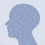 Blue head profile on canvas texture Royalty Free Stock Photography