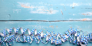 Blue Header with streamers, concept traditional bavaria Backgrou. Nd with copyspace Royalty Free Stock Image