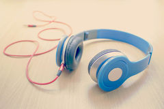 Blue headphone Stock Photo