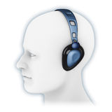 Blue headphones Stock Photography