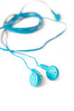 Blue headphones Royalty Free Stock Image