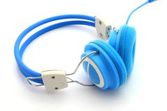 Blue headphones isolated on white background Stock Image