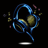 Blue headphones with Music. Vector illustration. Stock Photography