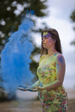 Blue healing energy. Woman giving blue healing energy Royalty Free Stock Photography
