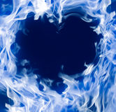 Blue heart. Blue fog heart on the dark background Stock Image