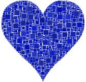Blue Heart. The heart is composed by a mesh of colored square Royalty Free Stock Photos