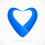 Blue heart. Abstract blue heart ribbon isolated on white background Royalty Free Stock Image