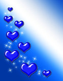 Blue Heart Background. Blue hearts and sparkles on blue gradient background royalty free illustration