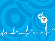 Blue heart beat background Royalty Free Stock Image