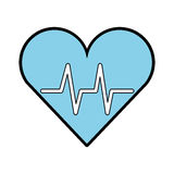 Blue heart beat pulse Stock Photography
