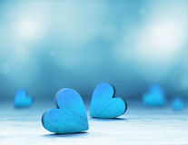 Blue heart on blue background. Valentines Day. Royalty Free Stock Photos