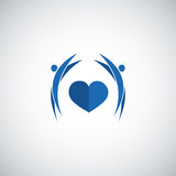 Blue heart care logo Royalty Free Stock Image