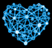 Blue heart connected points isolated Royalty Free Stock Photo