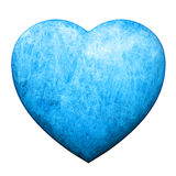 Blue heart covered with ice and frost Stock Photos