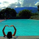 Blue heart. Heaven on earth is Indonesia stock image