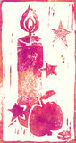 Blue Heart - Linocut print royalty free stock photo