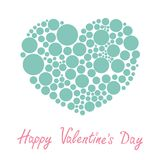 Blue heart made from many round dots Love card Flat design Happy Valentines day Stock Photos