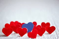 Blue heart and many red hearts on the white background. Valentin Stock Image