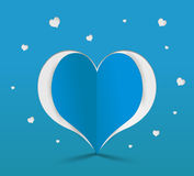 Blue heart paper sticker. Vector illustration Royalty Free Stock Photography