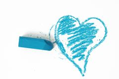 Blue heart pastel sticks doodle Stock Photography