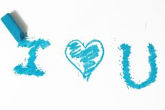 Blue heart pastel sticks doodle Royalty Free Stock Photo