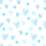 Blue heart pattern. Blue vector heart shape seamless watercolor pattern, isolated background Royalty Free Stock Photos