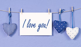 Blue heart pillows I love you Royalty Free Stock Photo