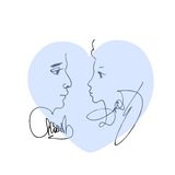 Blue heart with portrait sketch of man and woman. Stock Image