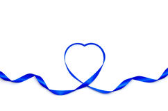 Blue heart ribbon. Isolated on white background Stock Photos
