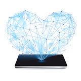 Blue Heart on Screen smartphone,  icon  Royalty Free Stock Photography