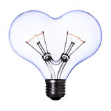 Blue heart shape lamp bulb Royalty Free Stock Photos