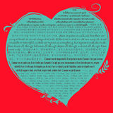 Blue heart shape on red background with christian bible verse in 1 Corinthian 13 in many language | Biblical quote about love Stock Photos
