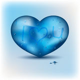 Blue heart shape and Valentine's day card Stock Images