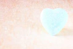Blue heart shape on wood background Stock Photography