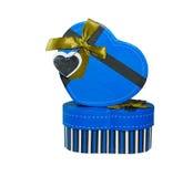 Blue  Heart shaped box Stock Photos