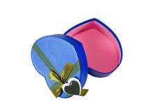 Blue  Heart shaped box Stock Photography
