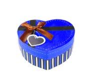 Blue  Heart shaped box Royalty Free Stock Photography