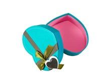 Blue  Heart shaped box Royalty Free Stock Image