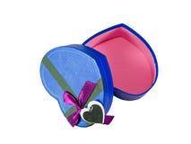 Blue  Heart shaped box Stock Photo