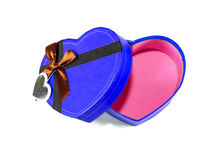 Blue  Heart shaped box Royalty Free Stock Images