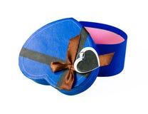 Blue  Heart shaped box Royalty Free Stock Photos