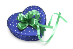 Blue Heart-shaped Gift Box Stock Images