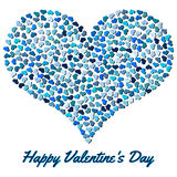 Blue heart from small hearts. Valentines Day background with heart on a white background Royalty Free Stock Image