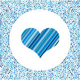 Blue heart of the strips and little hearts around. Valentines Day background with many hearts on a white background Royalty Free Stock Image
