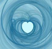 Blue heart swirl. Valentine abstract swirly heart shape Stock Images