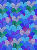 Blue heart texture background. Digital collage style heart background in blue hues Royalty Free Stock Photo