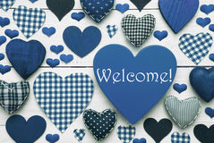 Blue Heart Texture With Welcome Royalty Free Stock Image