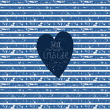 Blue heart on vector striped pattern Royalty Free Stock Photo